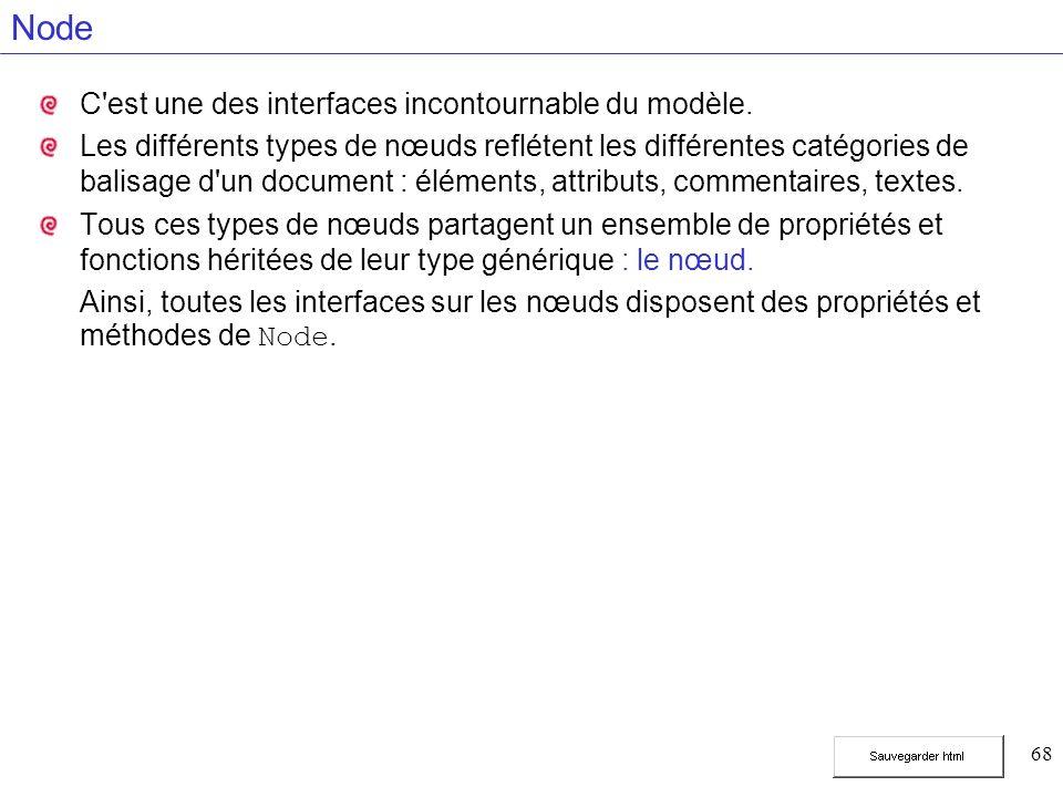 68 Node C'est une des interfaces incontournable du modèle. Les différents types de nœuds reflétent les différentes catégories de balisage d'un documen