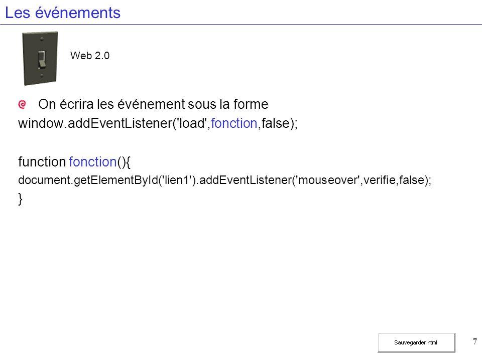 7 Les événements On écrira les événement sous la forme window.addEventListener('load',fonction,false); function fonction(){ document.getElementById('l