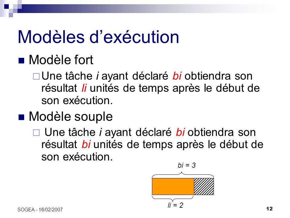 12 SOGEA - 16/02/2007 Modèles dexécution Modèle fort Une tâche i ayant déclaré bi obtiendra son résultat li unités de temps après le début de son exéc