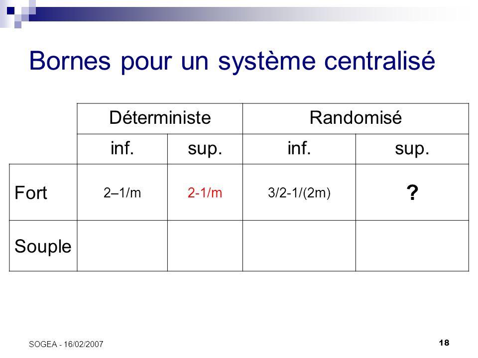 18 SOGEA - 16/02/2007 Bornes pour un système centralisé DéterministeRandomisé inf.sup.inf.sup. Fort 2–1/m2-1/m3/2-1/(2m) ? Souple