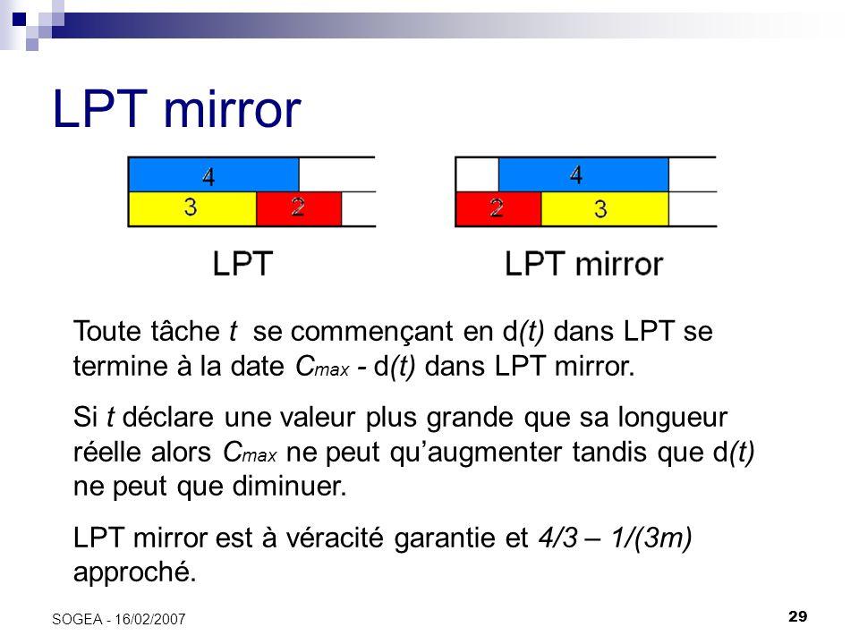 29 SOGEA - 16/02/2007 LPT mirror Toute tâche t se commençant en d(t) dans LPT se termine à la date C max - d(t) dans LPT mirror. Si t déclare une vale