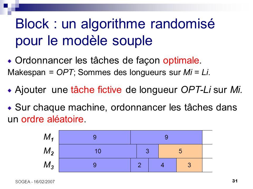 31 SOGEA - 16/02/2007 Block : un algorithme randomisé pour le modèle souple Ordonnancer les tâches de façon optimale. Makespan = OPT; Sommes des longu