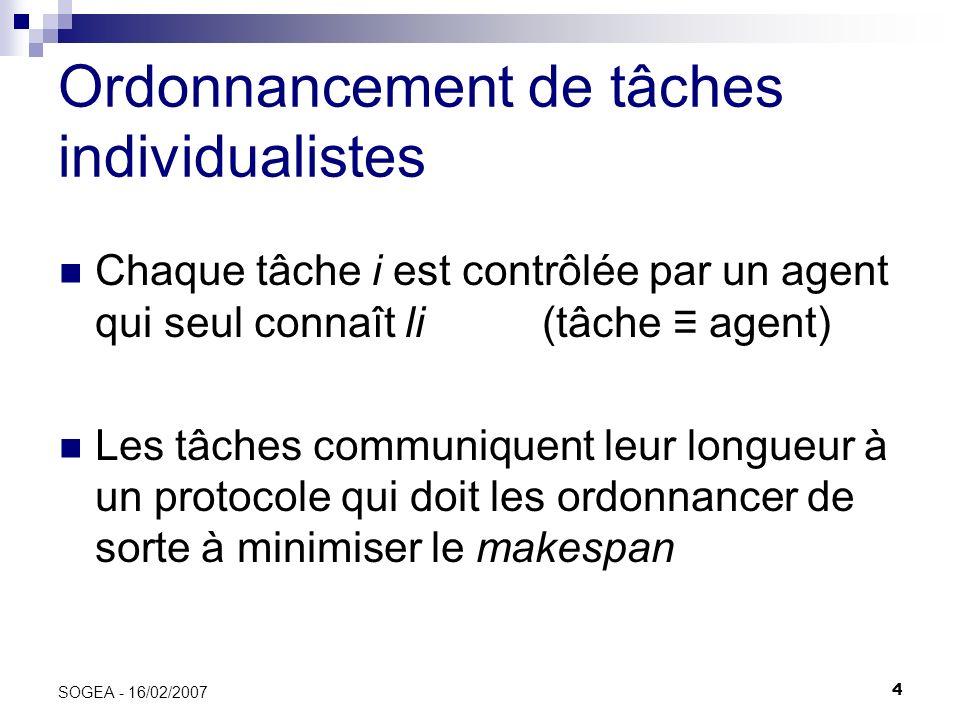 35 SOGEA - 16/02/2007 Prix de lanarchie Équilibre de Nash : Situation dans laquelle aucune tâche ne peut se terminer plus tôt en changeant unilatéralement de stratégie.