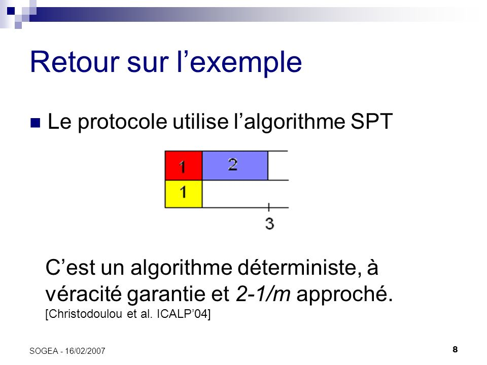 8 SOGEA - 16/02/2007 Retour sur lexemple Le protocole utilise lalgorithme SPT Cest un algorithme déterministe, à véracité garantie et 2-1/m approché.