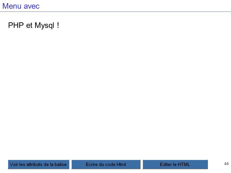 46 Menu avec PHP et Mysql !