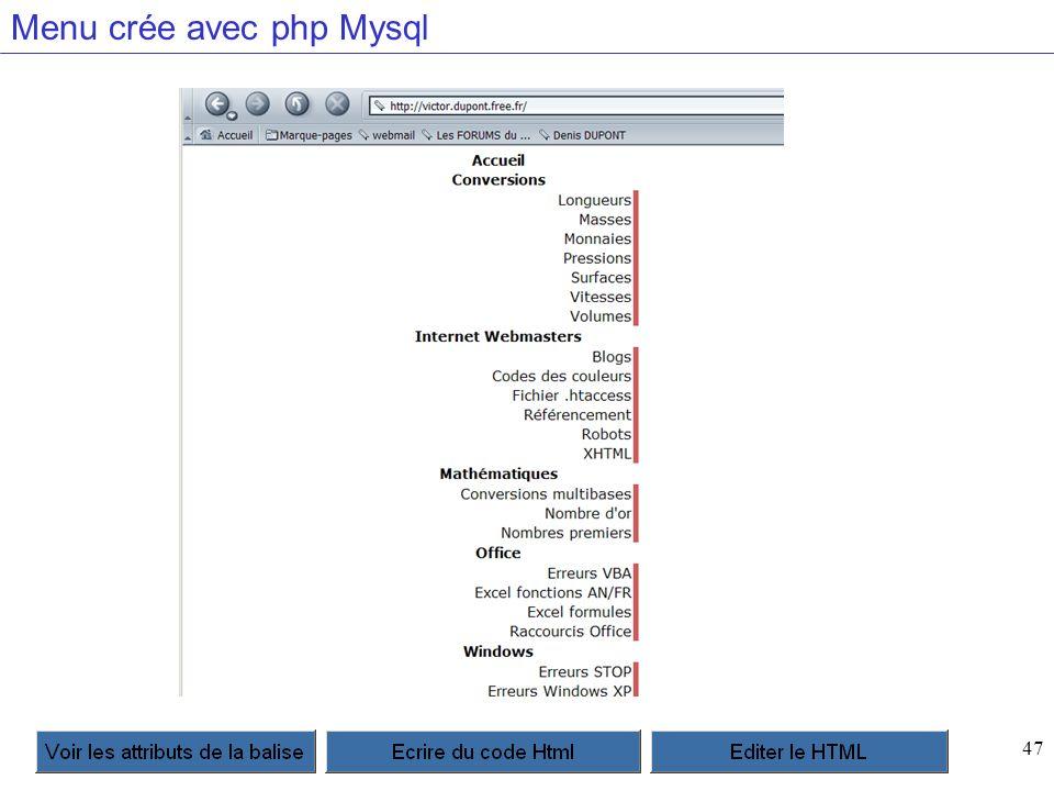47 Menu crée avec php Mysql