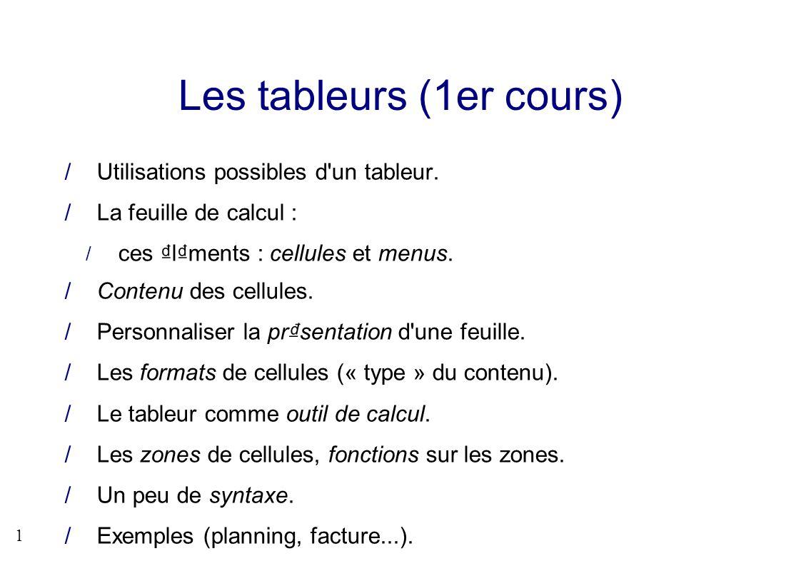 1 Les tableurs (1er cours) Utilisations possibles d'un tableur. La feuille de calcul : ces lments : cellules et menus. Contenu des cellules. Personnal