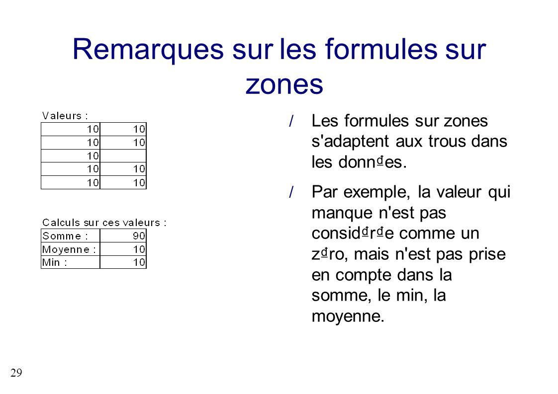 29 Remarques sur les formules sur zones Les formules sur zones s'adaptent aux trous dans les donnes. Par exemple, la valeur qui manque n'est pas consi