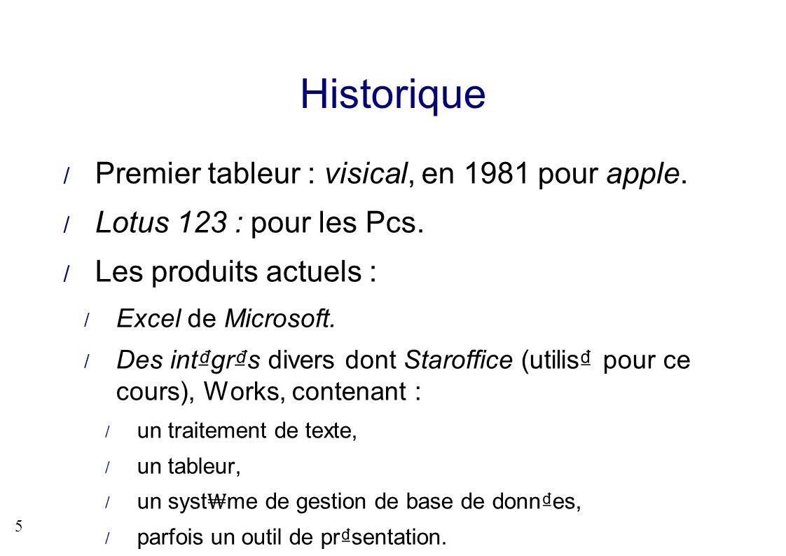 5 Historique Premier tableur : visical, en 1981 pour apple. Lotus 123 : pour les Pcs. Les produits actuels : Excel de Microsoft. Des intgrs divers don