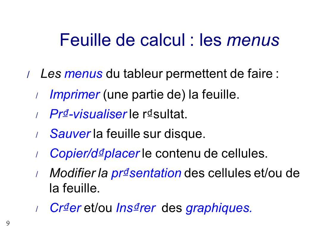 9 Feuille de calcul : les menus Les menus du tableur permettent de faire : Imprimer (une partie de) la feuille. Pr-visualiser le rsultat. Sauver la fe