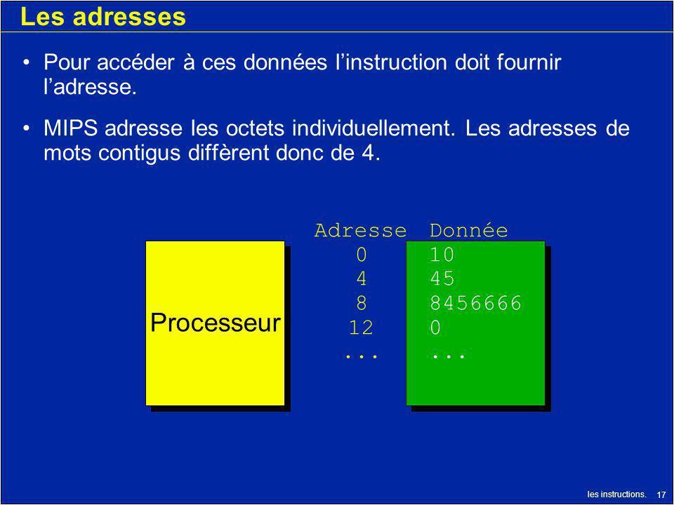 les instructions. 17 Les adresses Pour accéder à ces données linstruction doit fournir ladresse. MIPS adresse les octets individuellement. Les adresse