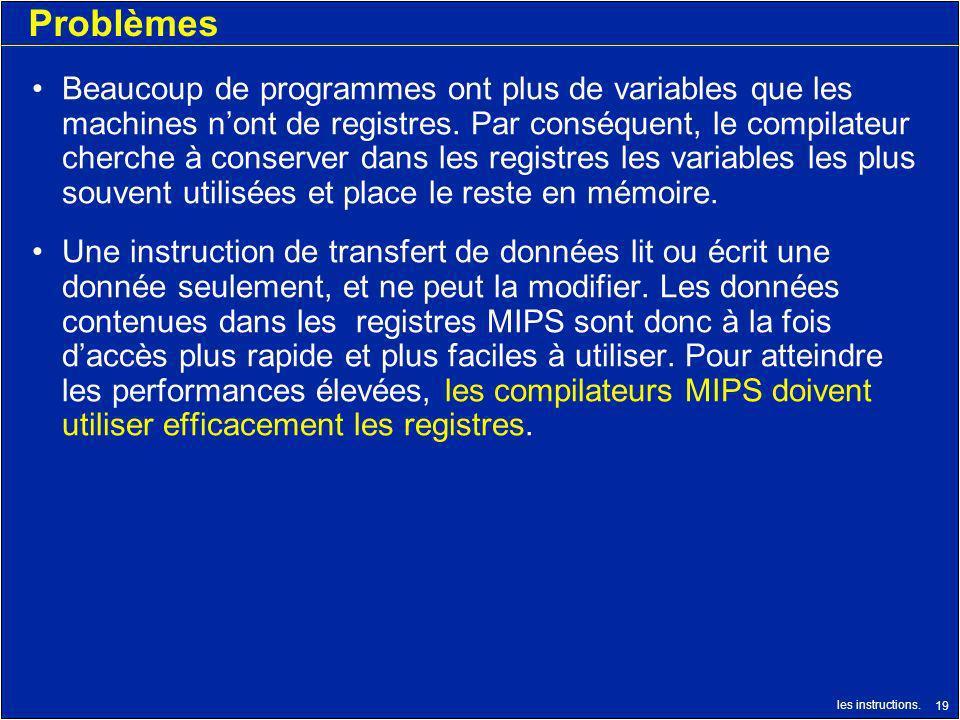 les instructions. 19 Problèmes Beaucoup de programmes ont plus de variables que les machines nont de registres. Par conséquent, le compilateur cherche
