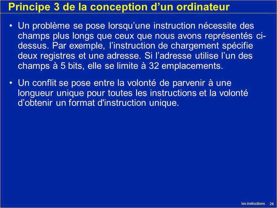 les instructions. 26 Principe 3 de la conception dun ordinateur Un problème se pose lorsquune instruction nécessite des champs plus longs que ceux que