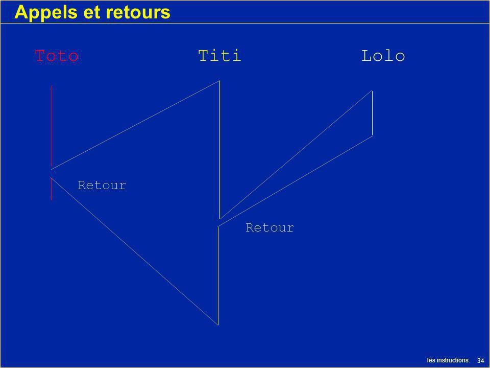 les instructions. 34 Appels et retours TotoTitiLolo Retour
