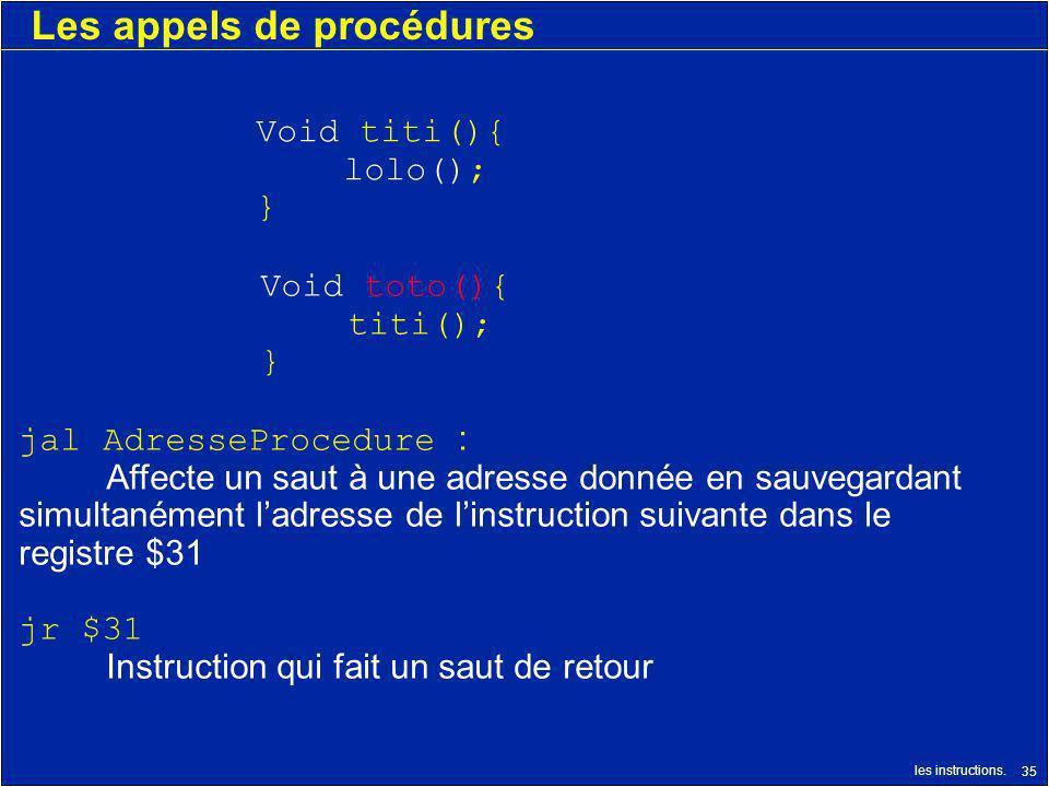 les instructions. 35 Les appels de procédures jal AdresseProcedure : Affecte un saut à une adresse donnée en sauvegardant simultanément ladresse de li