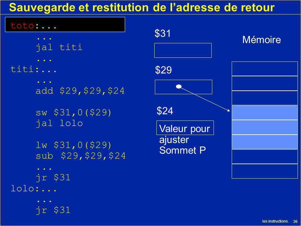 les instructions. 36 Sauvegarde et restitution de ladresse de retour $24 $31 toto:...... jal titi... titi:...... add $29,$29,$24 sw $31,0($29) jal lol