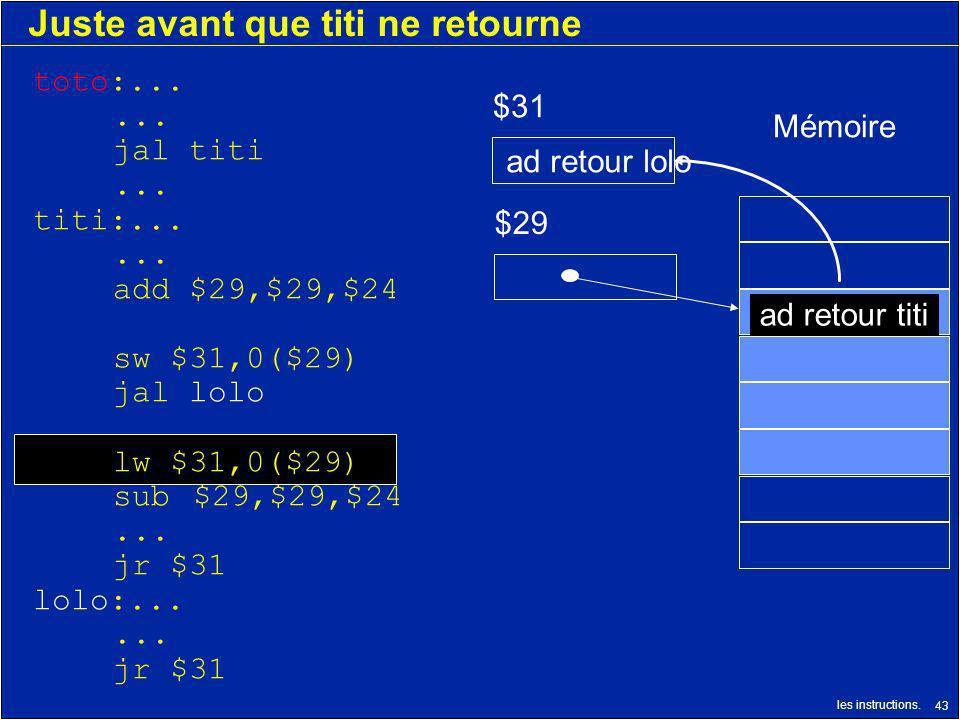 les instructions. 43 Juste avant que titi ne retourne $29 $31 ad retour titi Mémoire ad retour lolo toto:...... jal titi... titi:...... add $29,$29,$2