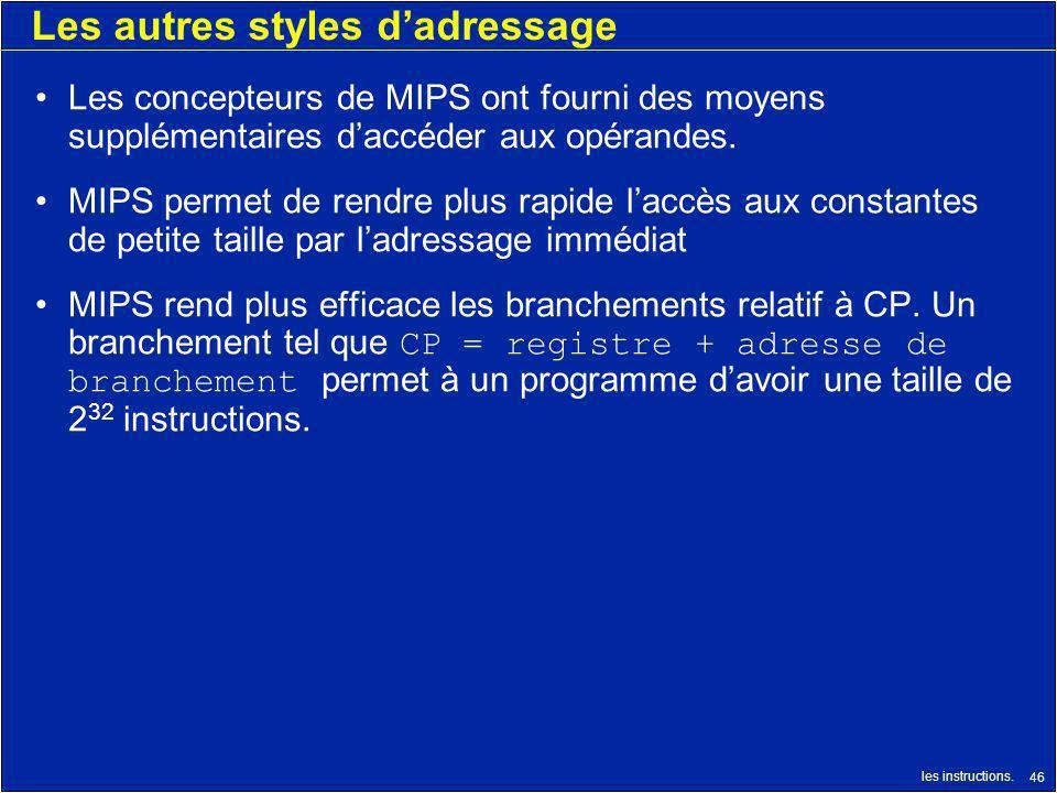les instructions. 46 Les autres styles dadressage Les concepteurs de MIPS ont fourni des moyens supplémentaires daccéder aux opérandes. MIPS permet de
