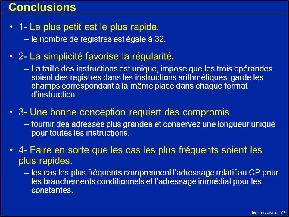 les instructions. 58 Conclusions 1- Le plus petit est le plus rapide. –le nombre de registres est égale à 32. 2- La simplicité favorise la régularité.