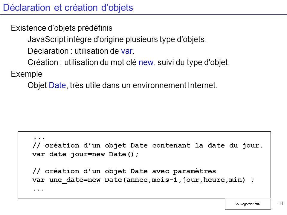 11 Déclaration et création dobjets Existence dobjets prédéfinis JavaScript intègre d origine plusieurs type d objets.