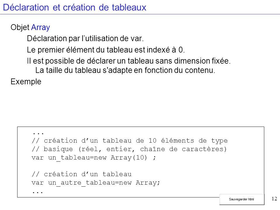 12 Déclaration et création de tableaux Objet Array Déclaration par lutilisation de var.