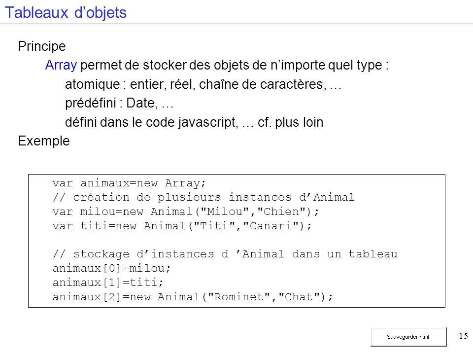 15 Tableaux dobjets Principe Array permet de stocker des objets de nimporte quel type : atomique : entier, réel, chaîne de caractères, … prédéfini : Date, … défini dans le code javascript, … cf.