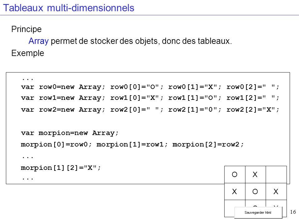 16 Tableaux multi-dimensionnels Principe Array permet de stocker des objets, donc des tableaux.