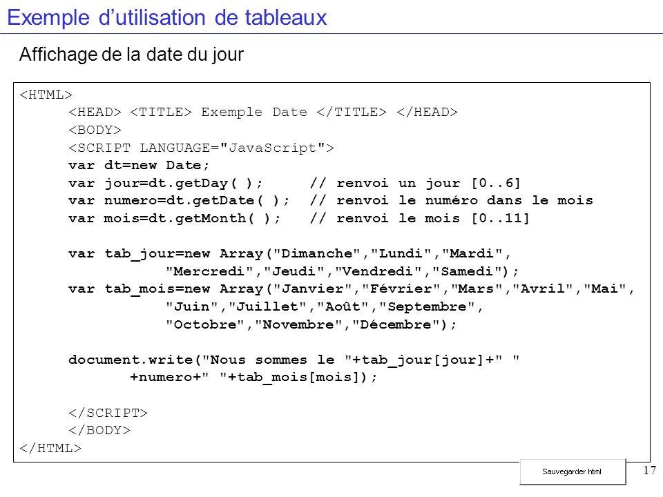 17 Exemple dutilisation de tableaux Affichage de la date du jour Exemple Date var dt=new Date; var jour=dt.getDay( );// renvoi un jour [0..6] var numero=dt.getDate( ); // renvoi le numéro dans le mois var mois=dt.getMonth( );// renvoi le mois [0..11] var tab_jour=new Array( Dimanche , Lundi , Mardi , Mercredi , Jeudi , Vendredi , Samedi ); var tab_mois=new Array( Janvier , Février , Mars , Avril , Mai , Juin , Juillet , Août , Septembre , Octobre , Novembre , Décembre ); document.write( Nous sommes le +tab_jour[jour]+ +numero+ +tab_mois[mois]);
