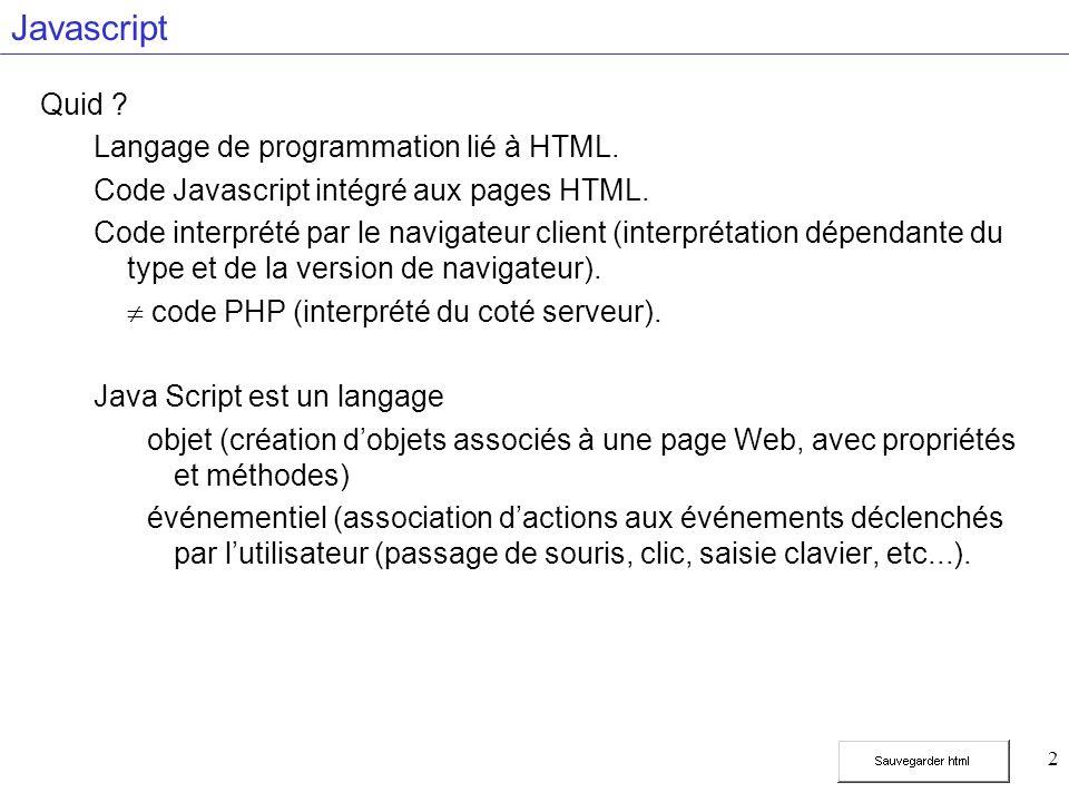 3 Javascript Intérêts de Javascript .