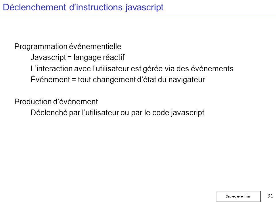 31 Déclenchement dinstructions javascript Programmation événementielle Javascript = langage réactif Linteraction avec lutilisateur est gérée via des événements Événement = tout changement détat du navigateur Production dévénement Déclenché par lutilisateur ou par le code javascript