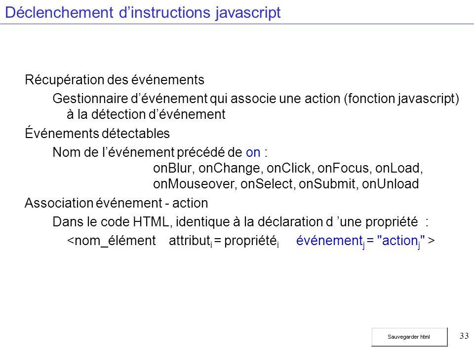 33 Déclenchement dinstructions javascript Récupération des événements Gestionnaire dévénement qui associe une action (fonction javascript) à la détection dévénement Événements détectables Nom de lévénement précédé de on : onBlur, onChange, onClick, onFocus, onLoad, onMouseover, onSelect, onSubmit, onUnload Association événement - action Dans le code HTML, identique à la déclaration d une propriété :