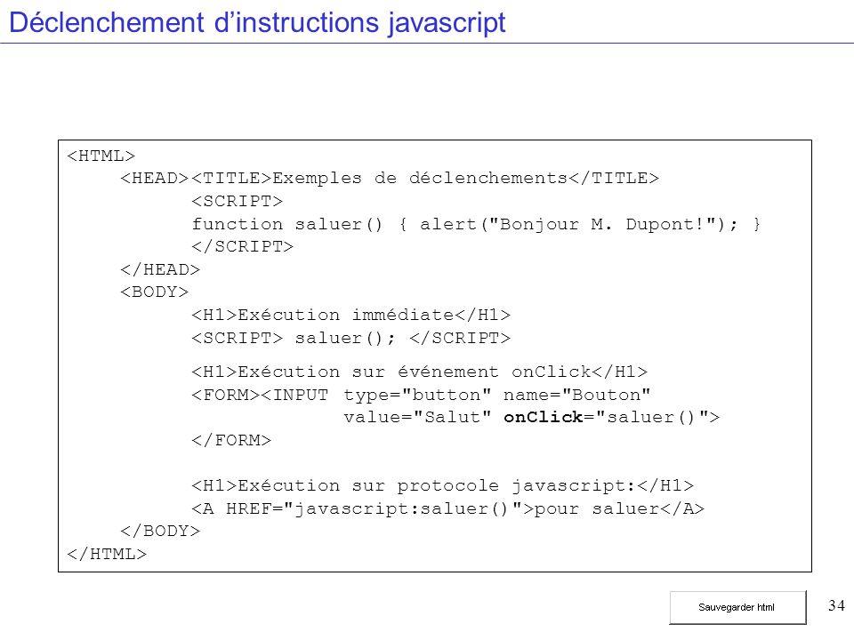 34 Déclenchement dinstructions javascript Exemples de déclenchements function saluer() { alert( Bonjour M.