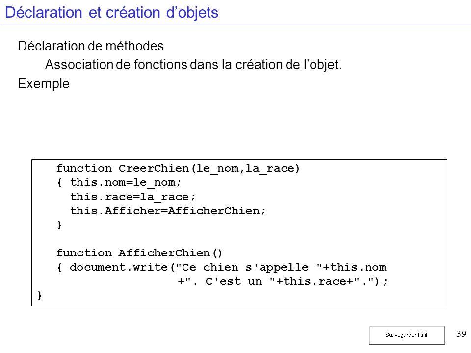 39 Déclaration et création dobjets Déclaration de méthodes Association de fonctions dans la création de lobjet.