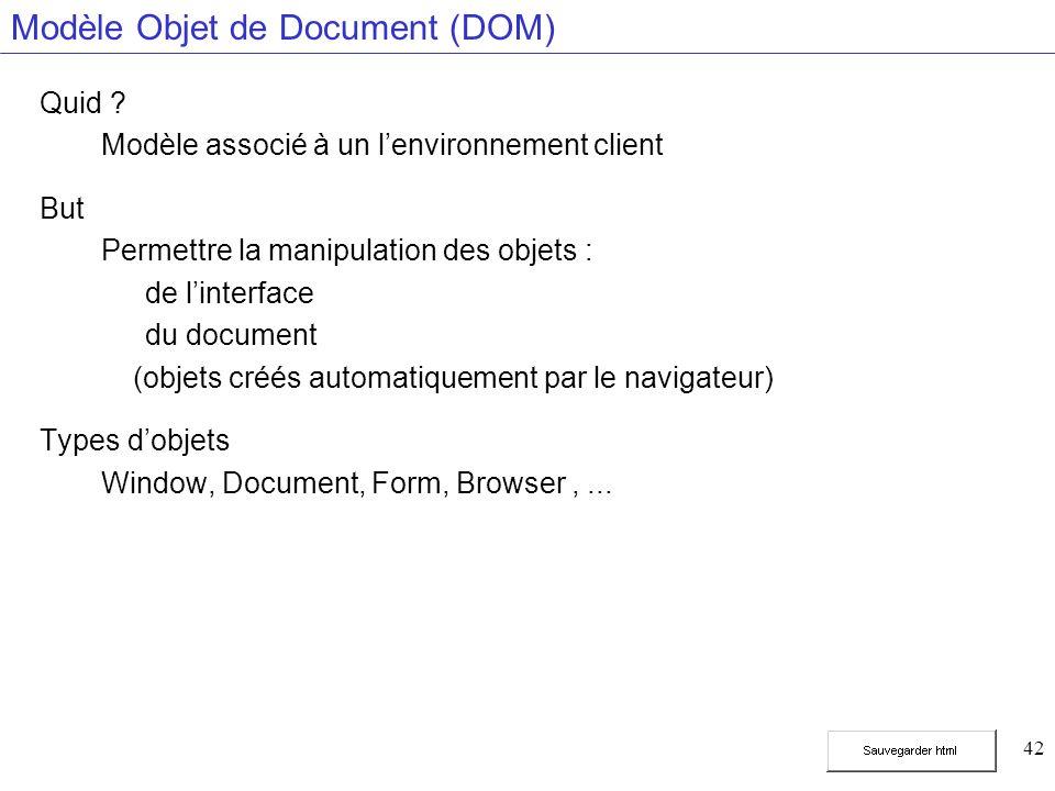 42 Modèle Objet de Document (DOM) Quid .