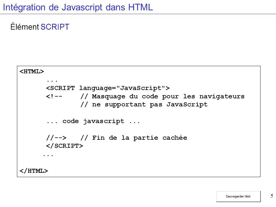 5 Intégration de Javascript dans HTML Élément SCRIPT...