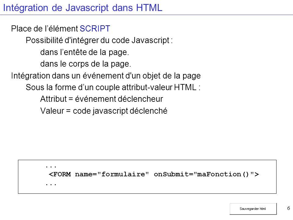 6 Intégration de Javascript dans HTML Place de lélément SCRIPT Possibilité d intégrer du code Javascript : dans lentête de la page.