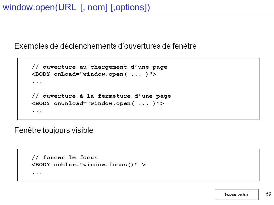 69 window.open(URL [, nom] [,options]) Exemples de déclenchements douvertures de fenêtre Fenêtre toujours visible // ouverture au chargement dune page...