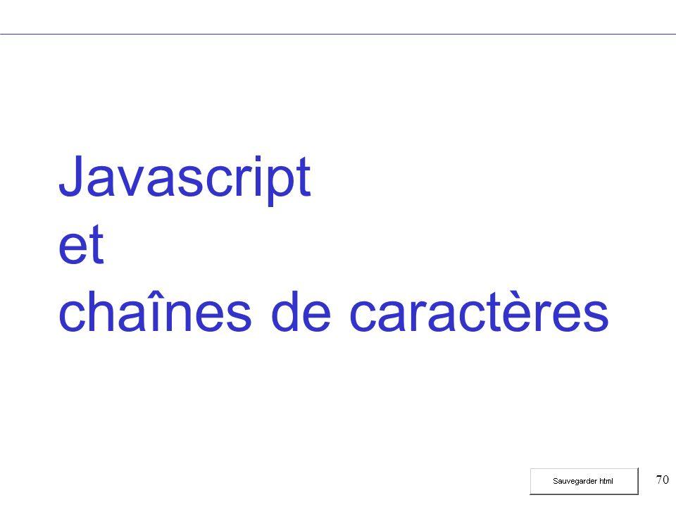 70 Javascript et chaînes de caractères