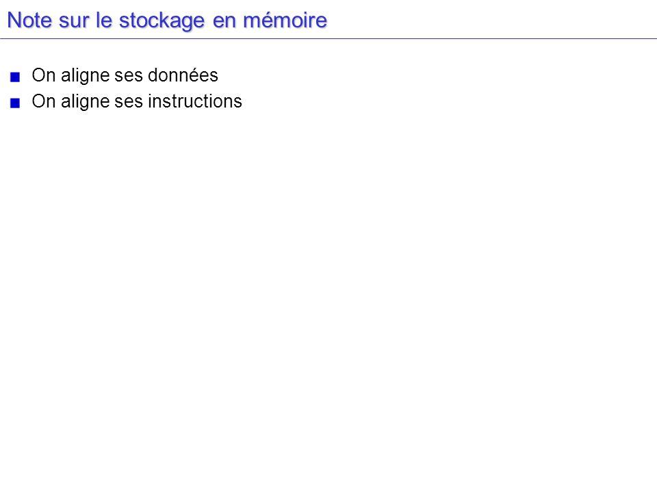 Note sur le stockage en mémoire On aligne ses données On aligne ses instructions