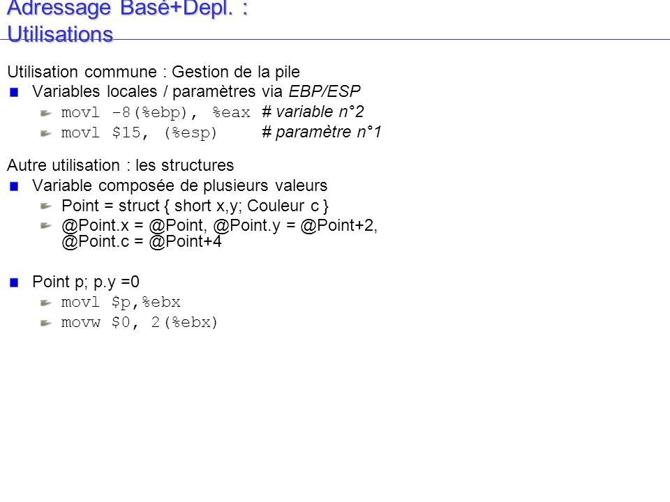Adressage Basé+Depl. : Utilisations Utilisation commune : Gestion de la pile Variables locales / paramètres via EBP/ESP movl -8(%ebp), %eax # variable