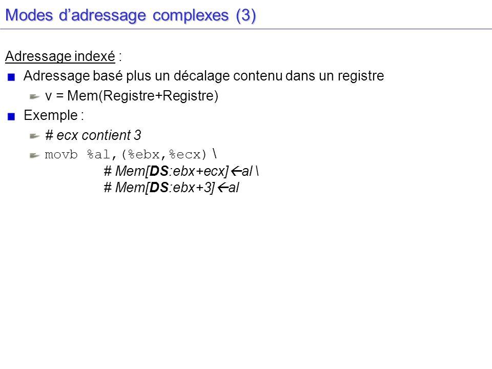 Modes dadressage complexes (3) Adressage indexé : Adressage basé plus un décalage contenu dans un registre v = Mem(Registre+Registre) Exemple : # ecx