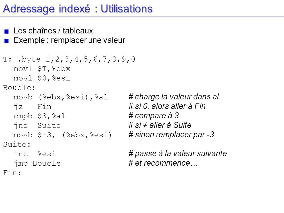 Adressage indexé : Utilisations Les chaînes / tableaux Exemple : remplacer une valeur T:.byte 1,2,3,4,5,6,7,8,9,0 movl $T,%ebx movl $0,%esi Boucle: mo