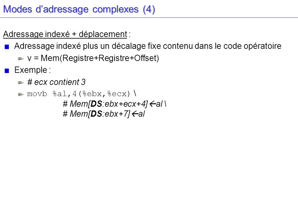 Modes dadressage complexes (4) Adressage indexé + déplacement : Adressage indexé plus un décalage fixe contenu dans le code opératoire v = Mem(Registr