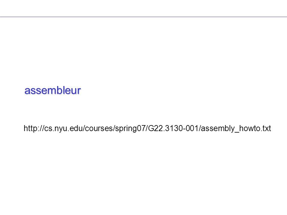 assembleur http://cs.nyu.edu/courses/spring07/G22.3130-001/assembly_howto.txt