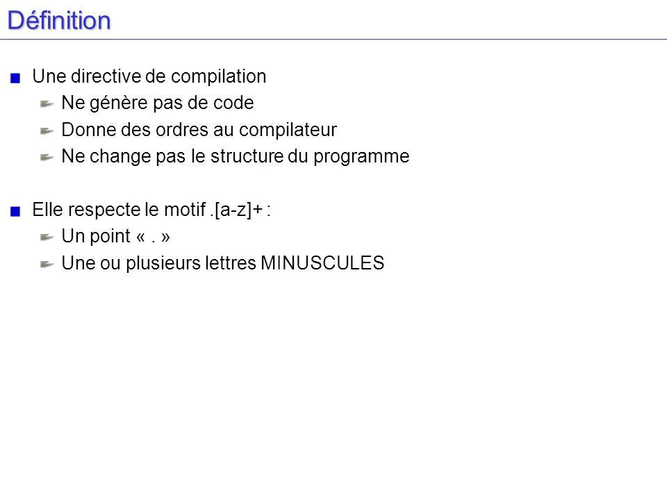 Définition Une directive de compilation Ne génère pas de code Donne des ordres au compilateur Ne change pas le structure du programme Elle respecte le