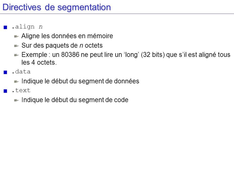 Directives de segmentation.align n Aligne les données en mémoire Sur des paquets de n octets Exemple : un 80386 ne peut lire un long (32 bits) que sil