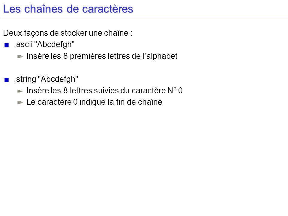 Les chaînes de caractères Deux façons de stocker une chaîne :.ascii