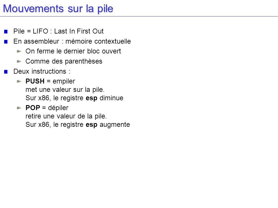 Mouvements sur la pile Pile = LIFO : Last In First Out En assembleur : mémoire contextuelle On ferme le dernier bloc ouvert Comme des parenthèses Deux