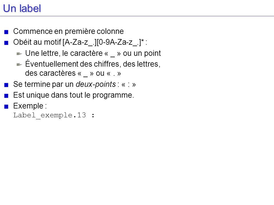 Un label Commence en première colonne Obéit au motif [A-Za-z_.][0-9A-Za-z_.]* : Une lettre, le caractère « _ » ou un point Éventuellement des chiffres