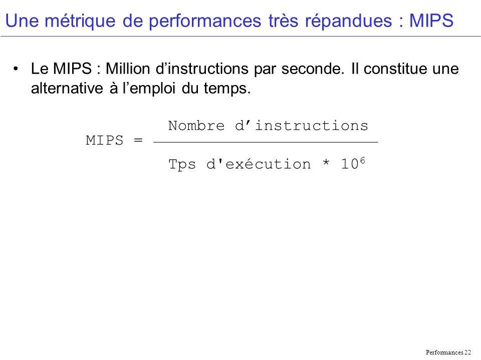 Performances 22 Une métrique de performances très répandues : MIPS Le MIPS : Million dinstructions par seconde. Il constitue une alternative à lemploi